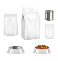 Dog food packaging realistic mockups vector