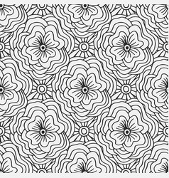 doodle seamless pattern with flowers creative vector image vector image