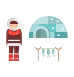 Eskimo house and people vector image vector image