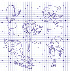 girls and snowflakes on notebook sheet vector image