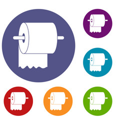 roll of toilet paper on holder icons set vector image
