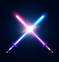Two crossed light neon swords fight vector