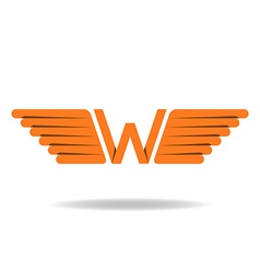 W - letter with wings logo in the orange style vector image vector image