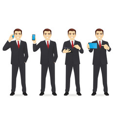 businessman with gadgets set vector image vector image