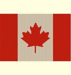 flag of canada on knitted woolen texture vector image vector image