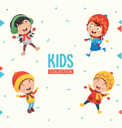 kids characters collection vector image