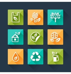 Set of eco icons in flat design style vector image