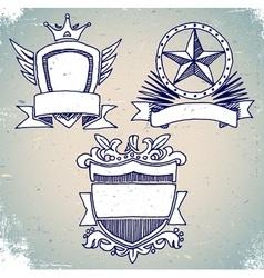 Set of sketch vintage shield labels vector image
