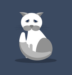 a sad gray-white cat the vector image