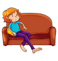 A woman resting at the sofa vector image