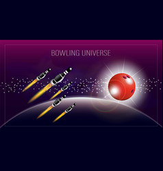 Abstract poster with inscription bowling vector
