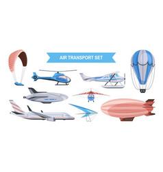 Air transport color set vector