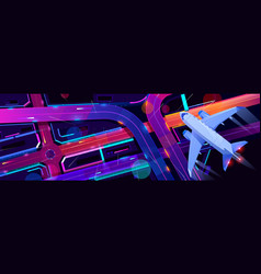 Airplane flying above city transport interchange vector