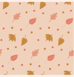 autumn leaves cute seamless pattern pastel vector image
