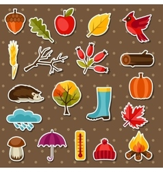 autumn sticker icon and objects set for design vector image