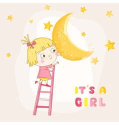 Baby Girl Climbing on a Moon - Baby Shower Card vector