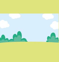 background landscape meadow bush sky clouds nature vector image