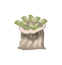 bank bag with many bills inside vector image