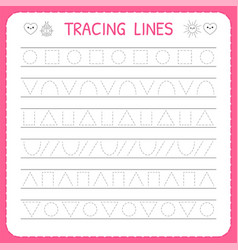 Basic writing trace line worksheet for kids vector