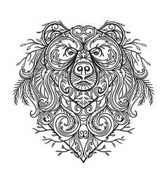 Bear with abstract floral ornament vector