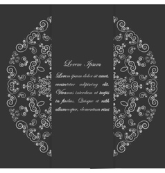 Black and white card design with ornate pattern vector