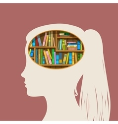 Book shelf in form head vector