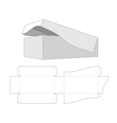 Box with base and lid attached together die vector