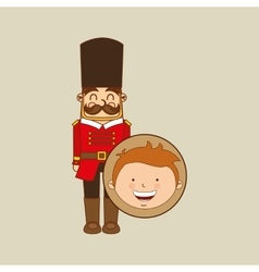 Boy lovely smiling wooden soldier graphic vector