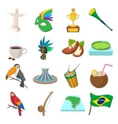 Brazil icons cartoon vector