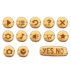 Buttons round small gold vector