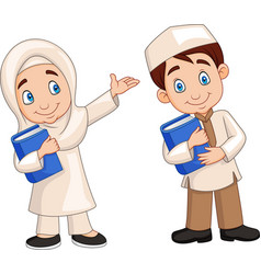 cartoon muslim kids vector image