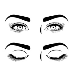 Close and open eyes of beautiful woman long vector