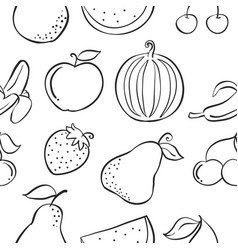 Collection fruit various pattern style vector