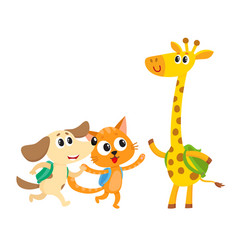 Cute animal student characters cat dog and vector