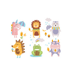 cute forest animals set autumn season design vector image