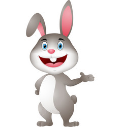 cute rabbit cartoon presenting vector image