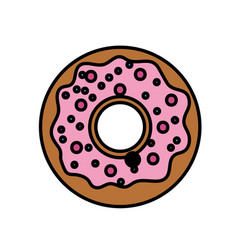 Delicious sweet donut bakery snack vector