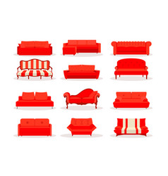 different red leather luxury office sofa vector image