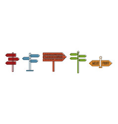 Direction sign icon set color outline style vector
