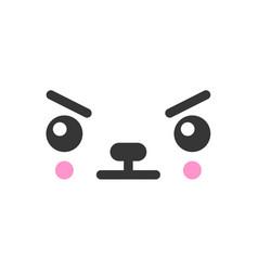 Displeased kawaii cute emotion face emoticon vector