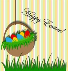 Easter background with basket sticker vector