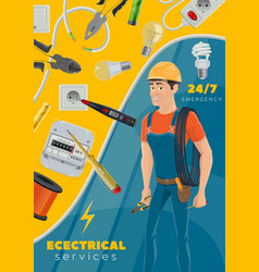 Electricity repair electrician service tools vector