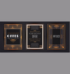 elegant vintage card templates set in art deco vector image