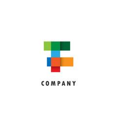 f letter geometric logo vector image
