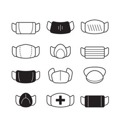 face mask icon surgical doctor clothes flu or vector image