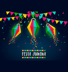 festa junina card paper balloons at night vector image