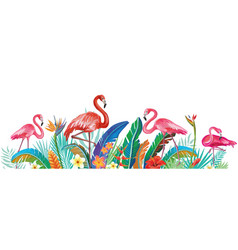 flamingoes with tropical flowers vector image