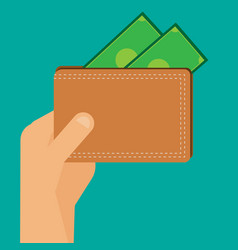 flat hand holding brown wallet money vector image