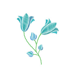flowers embroidery on white background vector image