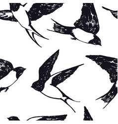 flying swallows hand drawing seamless pattern vector image